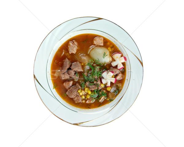 Hagyományos leves gazdag disznóhús piros retek Stock fotó © fanfo