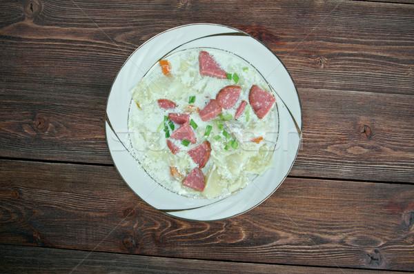 Cremoso repolho sopa salsicha legumes comida Foto stock © fanfo