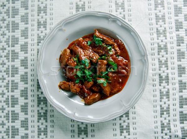 ハンガリー語 ビーフシチュー 料理 ポット 牛肉 ストックフォト © fanfo