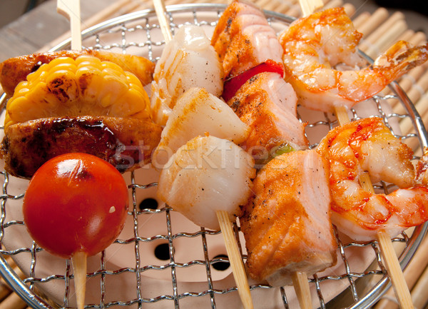 Japanese skewered  seafoods vegetables Stock photo © fanfo