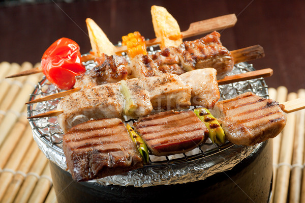 Japanese skewered meat Stock photo © fanfo