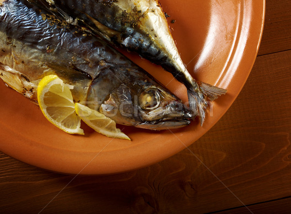 Makreel grill vis bereid citroen vlees Stockfoto © fanfo