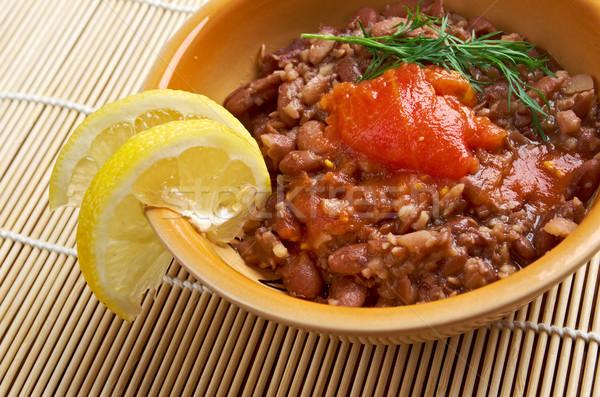 Schotel gekookt bonen geserveerd plantaardige olie Stockfoto © fanfo