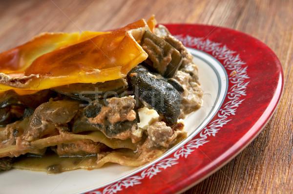 Lasagna funghi carne up piatto pranzo Foto d'archivio © fanfo