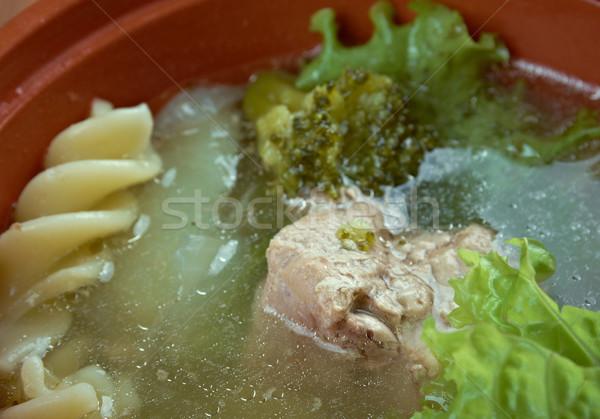 Olasz tél leves tészta brokkoli hús Stock fotó © fanfo
