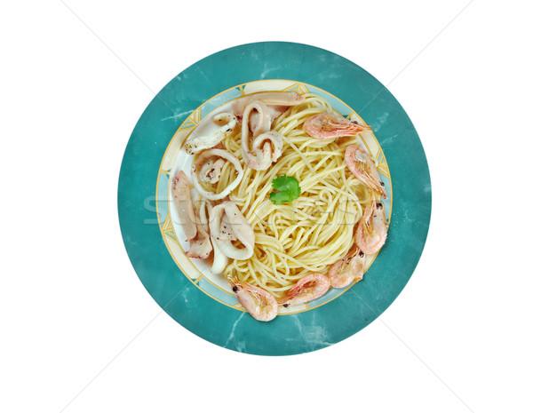 Spagetti kısrak İtalyan makarna deniz ürünleri deniz Stok fotoğraf © fanfo