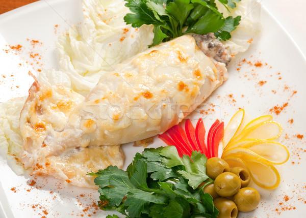 Tintahal töltött hal zöldségek étel ázsiai Stock fotó © fanfo