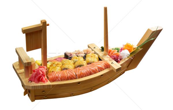 Sushi cibo giapponese nave tradizionale japanese bianco Foto d'archivio © fanfo