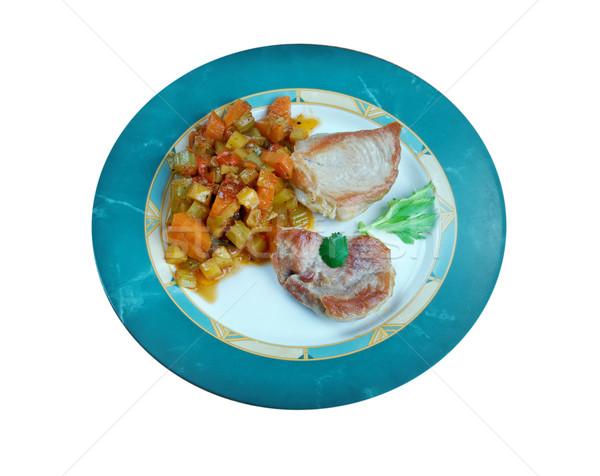 Varkensvlees cider voedsel groene vlees kok Stockfoto © fanfo