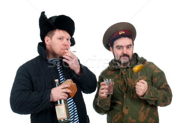 Soldat potable vodka isolé blanche Photo stock © fanfo