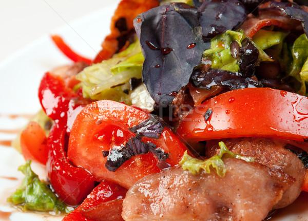 Stockfoto: Salade · spek · basilicum · gezonde · vegetarisch · witte