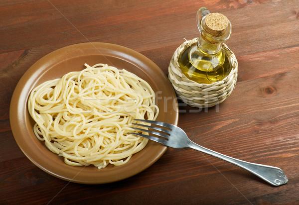 Közelkép spagetti közelkép étel étterem vacsora Stock fotó © fanfo
