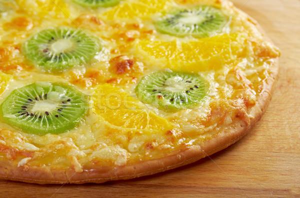 Tatlı pizza meyve ev yapımı turuncu meyve Stok fotoğraf © fanfo