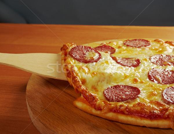 ストックフォト: 自家製 · ピザ · ペパロニ · スライス · チーズ