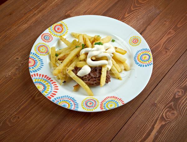 馬蹄 サンドイッチ 肉 パン フライドポテト ウェブ ストックフォト © fanfo