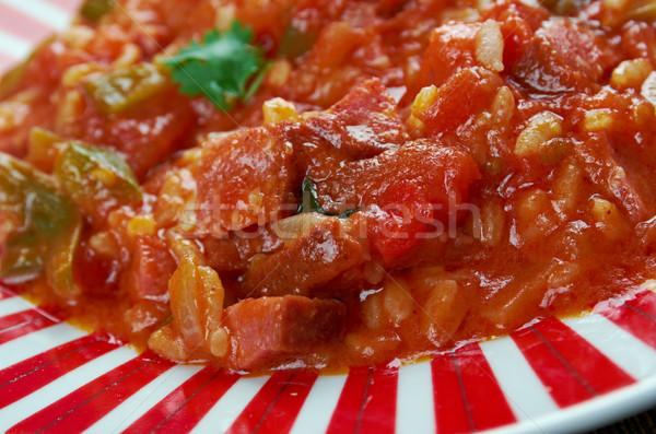 Piatto riso verdura salsiccia rosso pranzo Foto d'archivio © fanfo