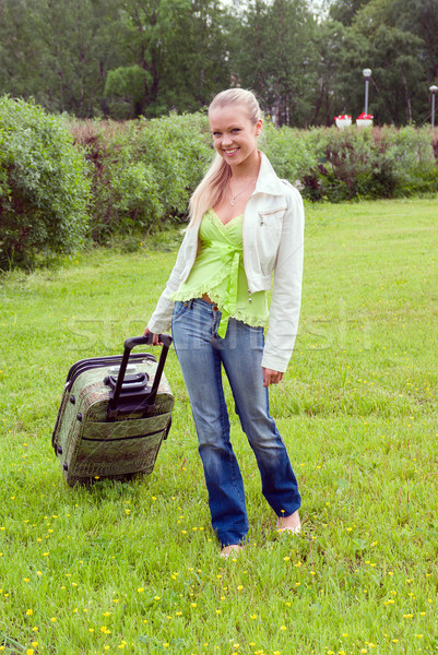 girl with valise.Journey and rest Stock photo © fanfo