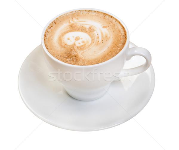 Cappucchino izolált fehér üveg bár csésze Stock fotó © fanfo