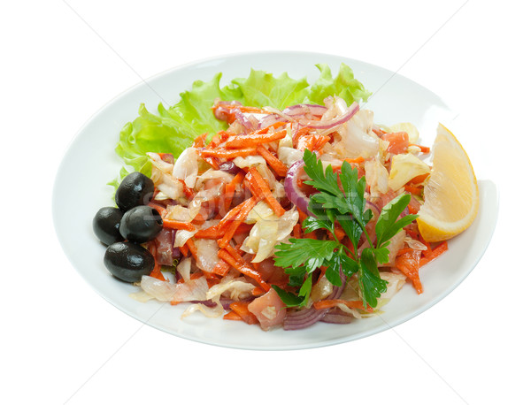 Healthy vegetarian Salad with salmon Stock photo © fanfo