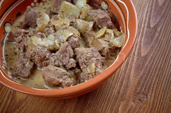 Pörkölt hús máj tyúk eszik bors Stock fotó © fanfo