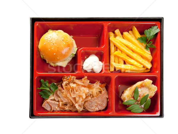 Japanese Bento Lunch .box of fast food with with pork,sandwich and vegetable Stock photo © fanfo