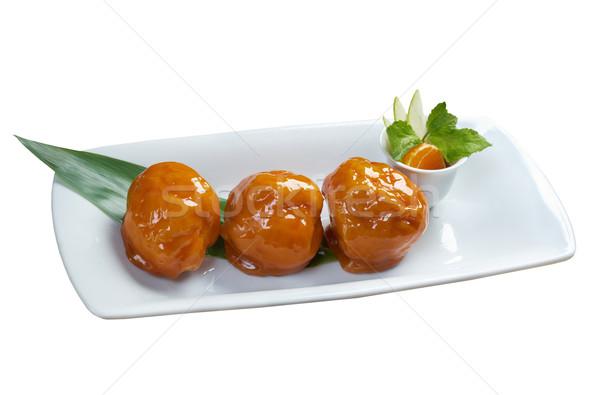 Hagyományos japán desszert gyümölcs fehér vágási körvonal Stock fotó © fanfo