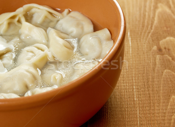 Traditional Russian food 'pelmeni'. Stock photo © fanfo