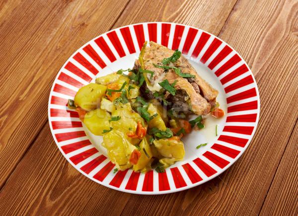 Pstrąg ziemniaki żywności ryb mięsa Zdjęcia stock © fanfo