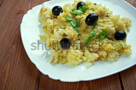 Stil yumurta pişirme patates sarımsak Stok fotoğraf © fanfo