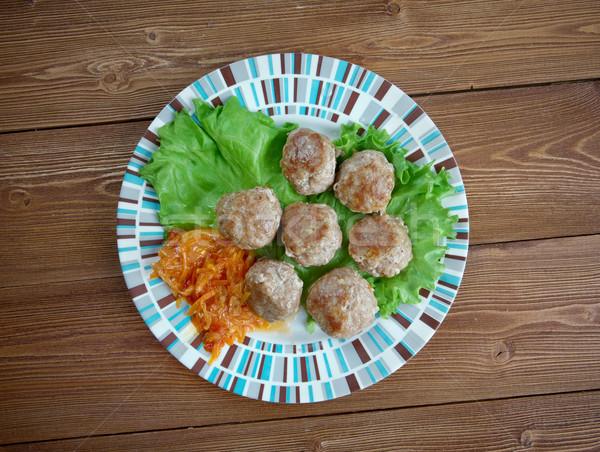 Stock fotó: Húsgombócok · finom · török · házi · zöld · hús