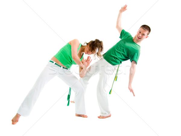 Kapcsolat sport capoeira férfi képzés verekedés Stock fotó © fanfo