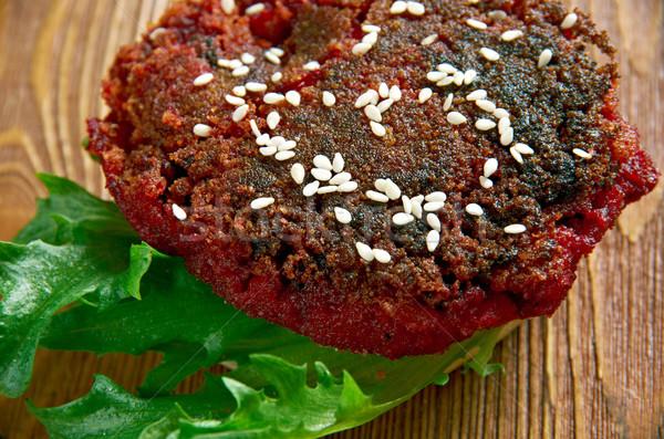 四半期 ハンバーガー サラダ トースト 食事 クローズアップ ストックフォト © fanfo