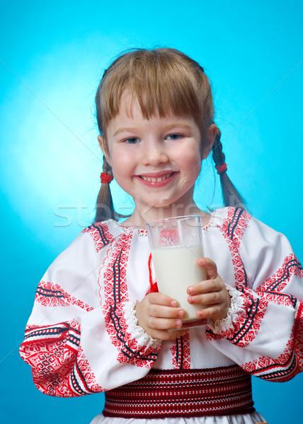 girl drinking glass of milk Stock photo © fanfo