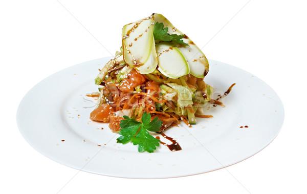 Sałatka wędzony łosoś cukinia warzyw wędzony grupy Zdjęcia stock © fanfo