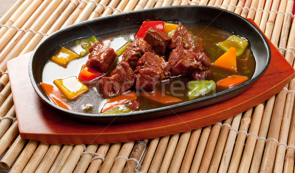 Chinese dish - beef with vegetables close-up  Stock photo © fanfo