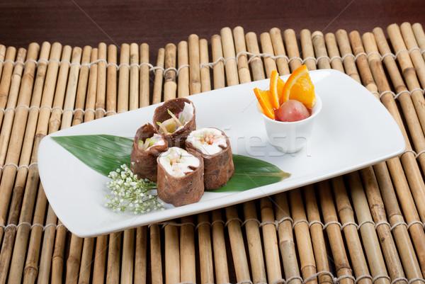 Dessert maki sushi cioccolato rotolare Foto d'archivio © fanfo