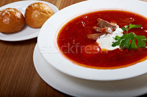 ukrainian and russian red-beet soup (borscht) Stock photo © fanfo