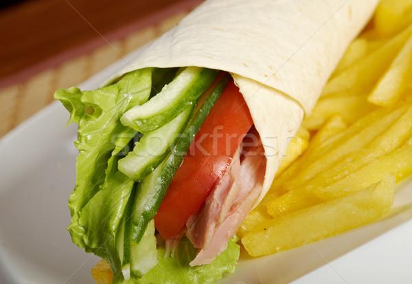 Pita kenyér török sonka zöldségek étel Stock fotó © fanfo