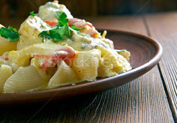 ストックフォト: パイプ · クリーミー · ニンニク · 鶏 · ディナー · パスタ