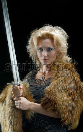 Krijger ridder pantser zwaard hand metaal Stockfoto © fanfo