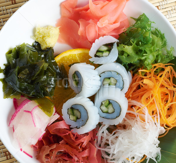 Keverék saláta hínár étel tányér edény Stock fotó © fanfo