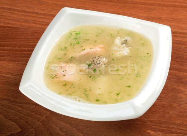 Groentesoep zalm Italiaans soep voedsel ontbijt Stockfoto © fanfo