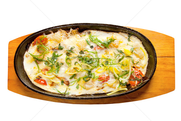 Fried eggs with vegetables and spring onions Stock photo © fanfo