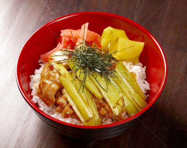 Stock fotó: Tyúk · rizs · bambusz · étterem · tányér · hús