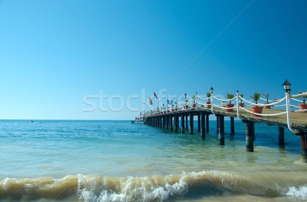 Móló tengerpart hotel mediterrán Törökország víz Stock fotó © fanfo