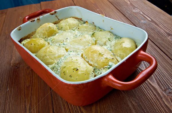 Olasz sült krumpli krém bazsalikom főzés Stock fotó © fanfo