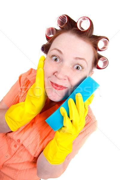 Сток-фото: Crazy · домохозяйка · горничная · чистого · губки · изолированный