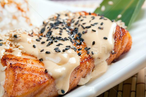 Lazac rizs krém mártás étel hal Stock fotó © fanfo