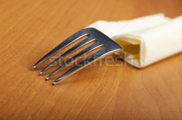 fork and a knife lie on serviette Stock photo © fanfo
