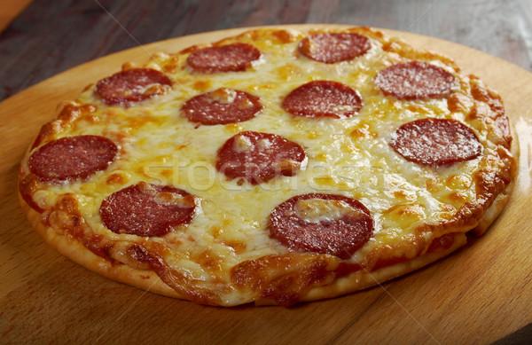 Fatto in casa pizza formaggio pomodoro pranzo veloce Foto d'archivio © fanfo